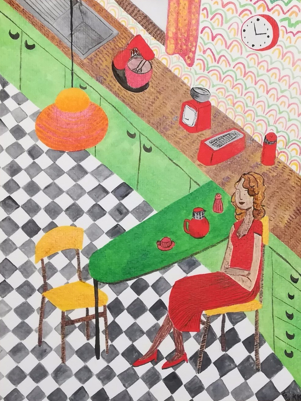 1950s kitchen illustration