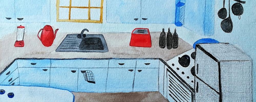 1950s Kitchen illustration