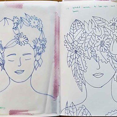 Saying Hello as lino prints